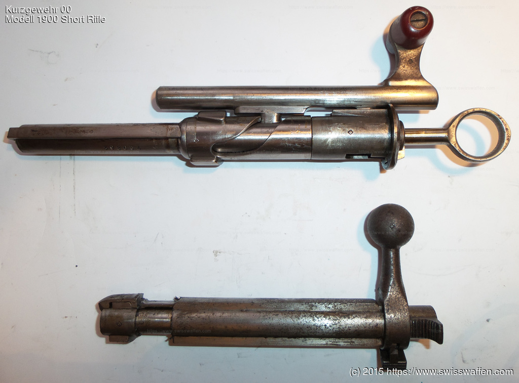 Top: bolt for Modell 1897 Cadet Rifle, Infanteriegewehre 89/96, 96/11, 11 and Karabiner/Kurzgewehre 00, 05, 00/11, 11 Bottom: bolt for Modell 1893 Cavalry Carbine