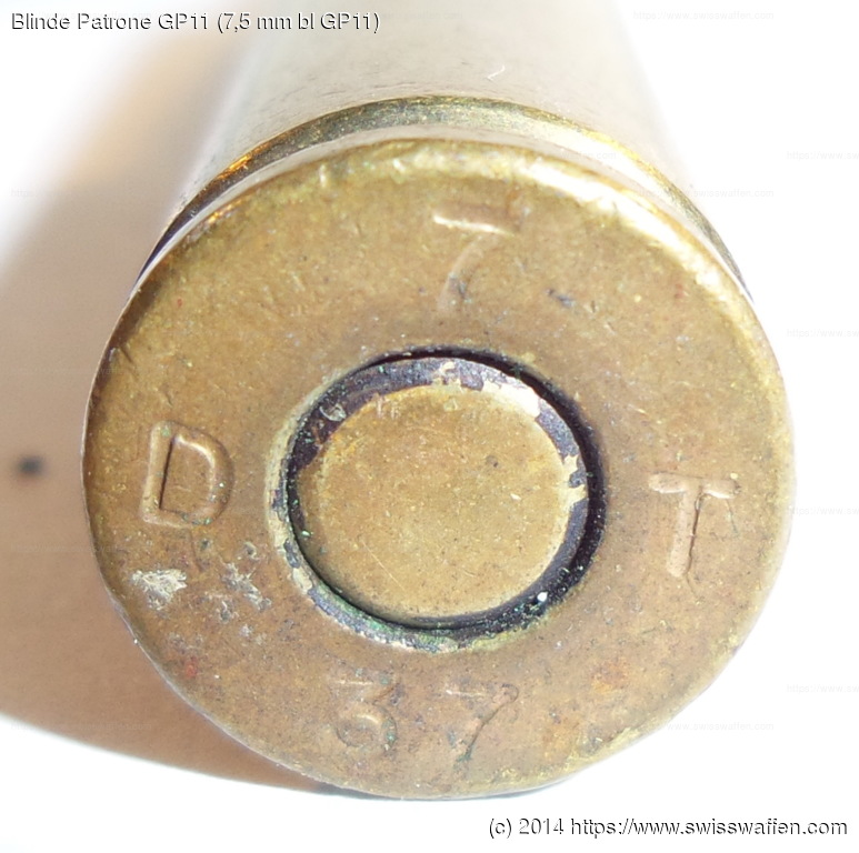 GER: Blinde Patrone GP11 (7,5 mm bl GP11), Jahrgang 1937, mit Messinghülse