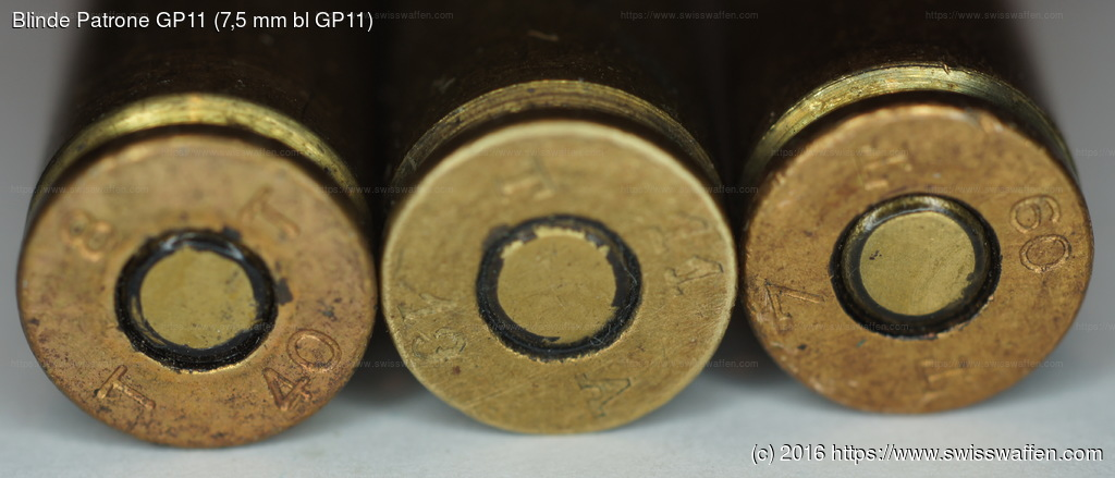 GER: Links: Blinde Patrone GP11 (7,5 mm bl GP11), Jahrgang 1940 Mitte: Blinde Patrone GP11 (7,5 mm bl GP11), Jahrgang 1913 Rechts: Blinde Gew. Patrone 03 (Bl 7.5mm GP03), Jahrgang 1909
