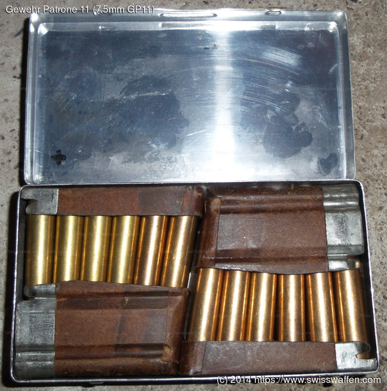 Personal pocket ammunition. Contains 4 chargers with 6 rounds of Gewehr Patrone 11 (7.5mm GP11) each.
