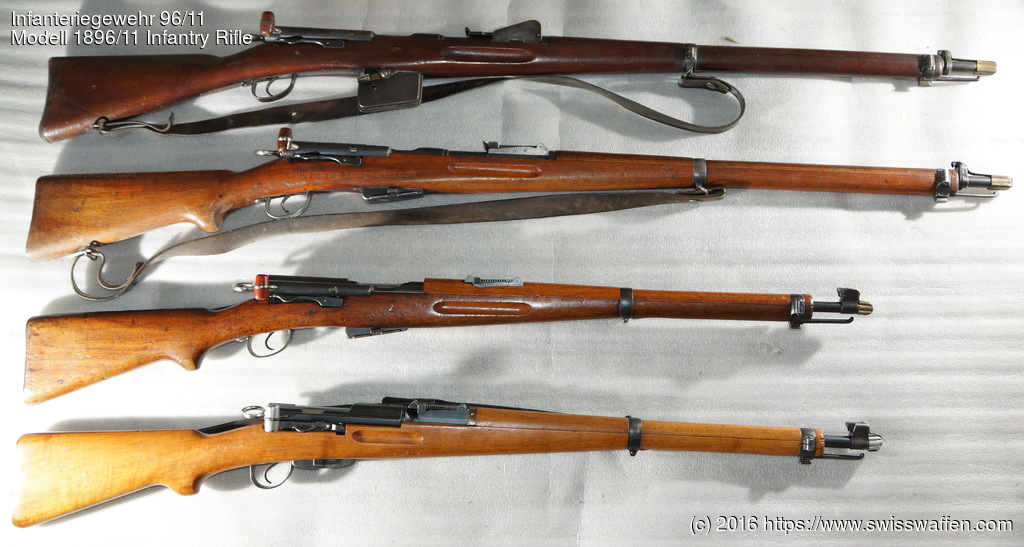 Some common Swiss rifles, from top: Modell 1889 Infantry Rifle Modell 1896/11 Infantry Rifle / Modell 1911 Infantry Rifle Modell 1911 Carbine / Modell 00/11 Carbine Modell 1931 Carbine